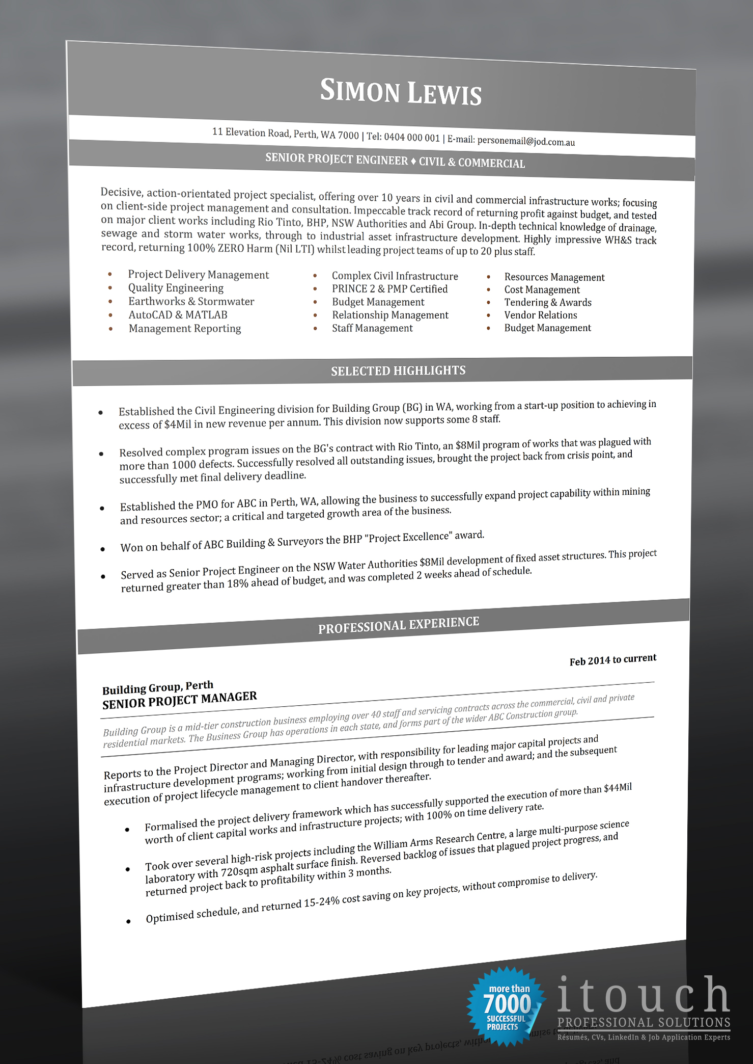 senior project engineer itouch resume writers