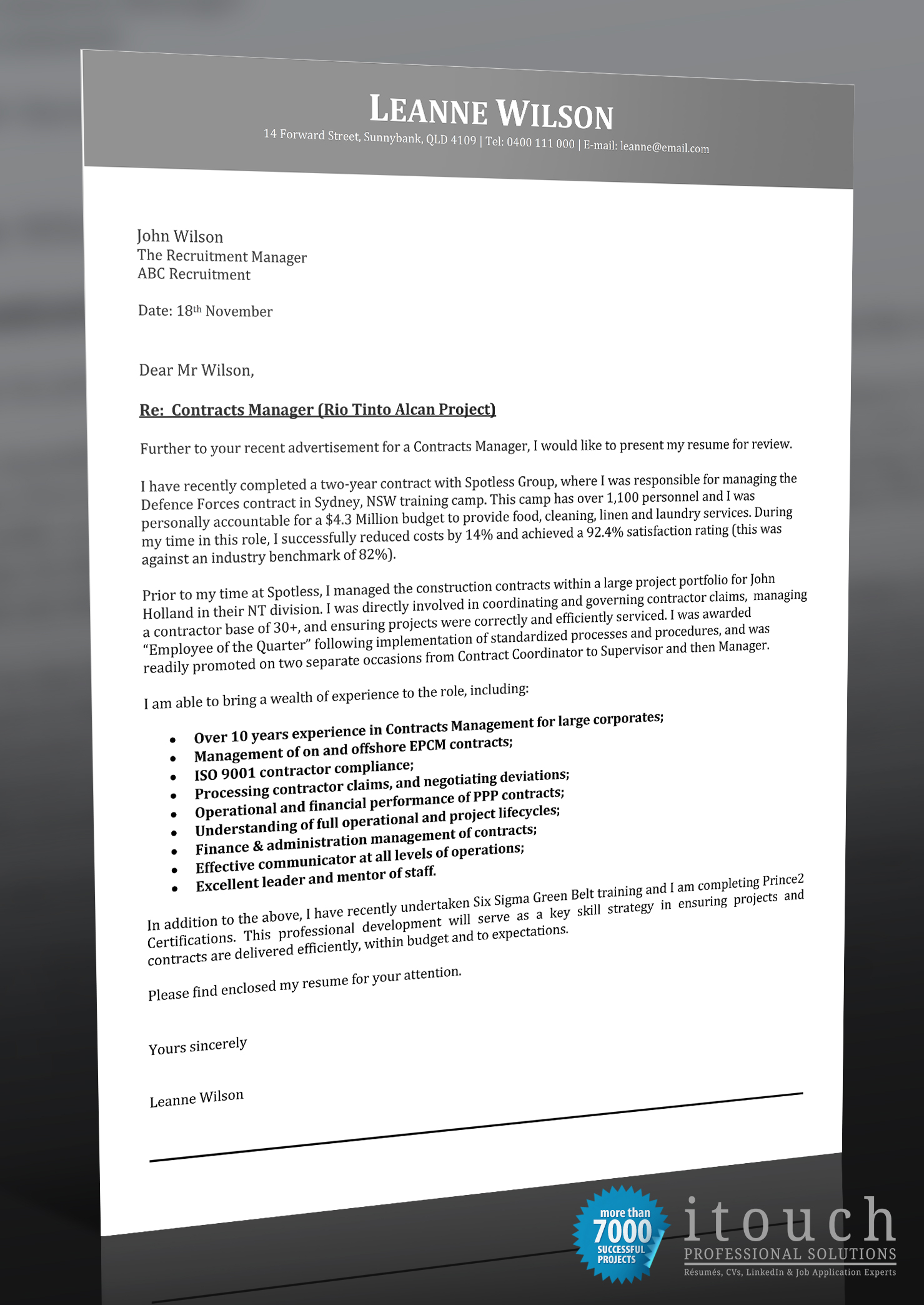 sle cover letter itouch resume writers